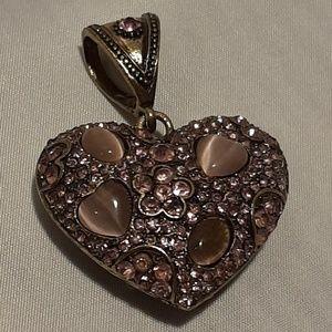 Heart Pendant with semi precious stones & crystals